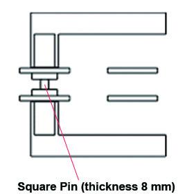 pin square in door handles